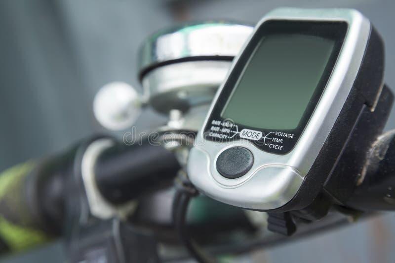 Electric bicycle odometer. Closeup image stock photo