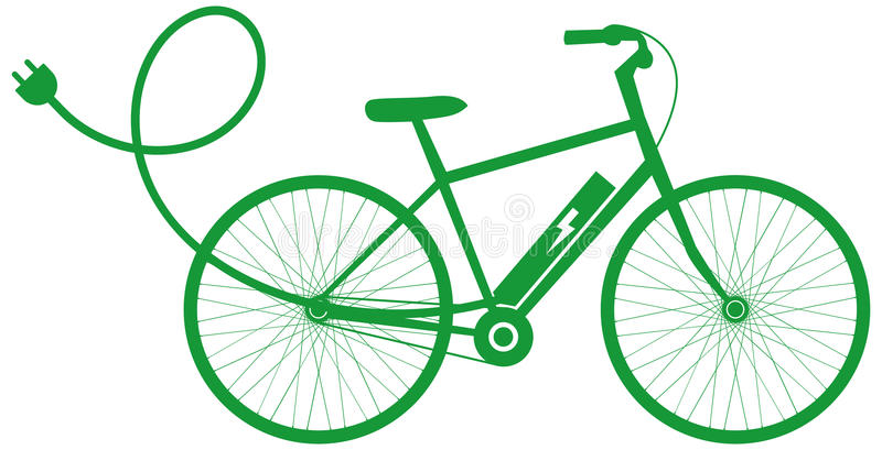 E-Bike electric bike. Electric bicycle vector icon or logo in green stock illustration