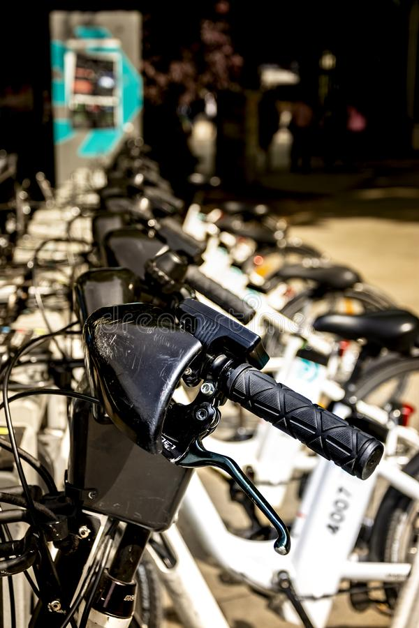 Electric bicycles ready to be used royalty free stock images