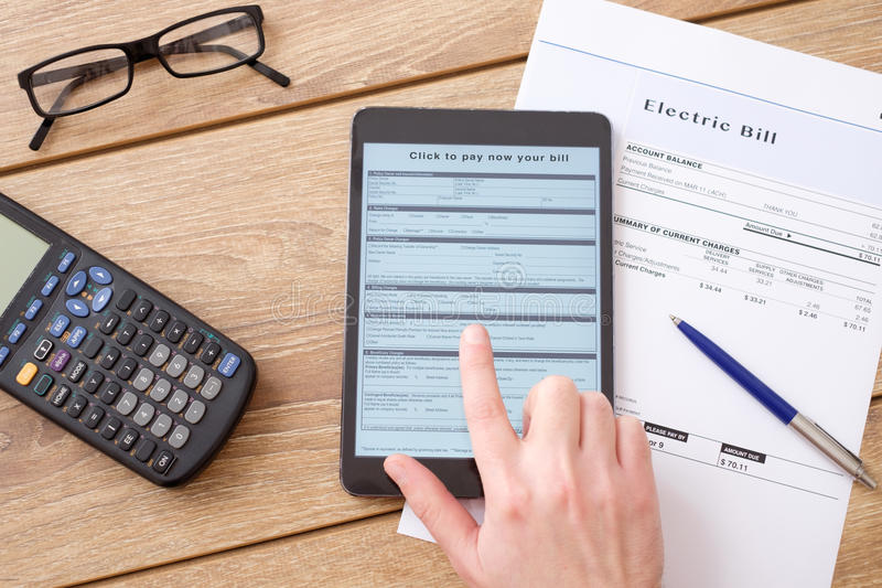 Electric bill charges form for internet payment royalty free stock photography