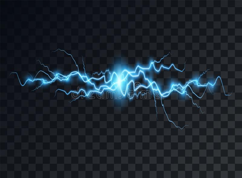 Electric blue discharge, flash, transparent glow. Vector design element on isolated background. Eps vector illustration