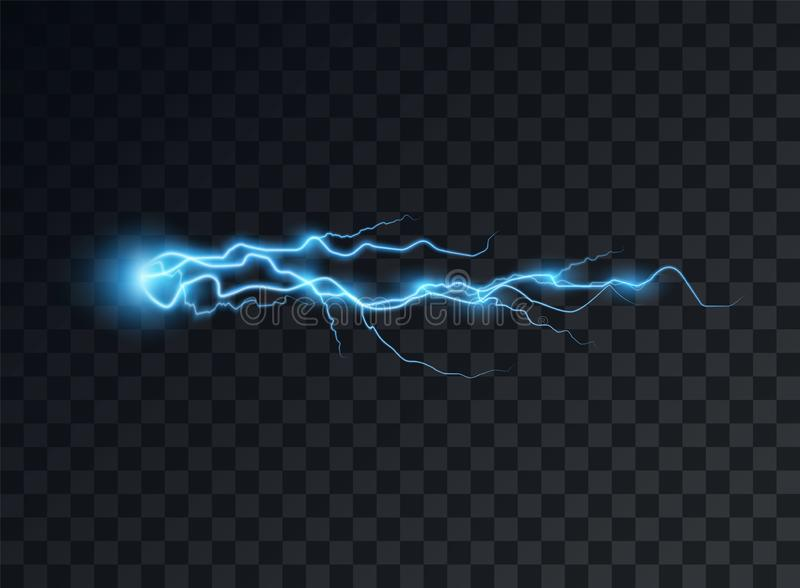 Electric blue discharge, flash, transparent glow. Vector design element on isolated background. Eps royalty free illustration
