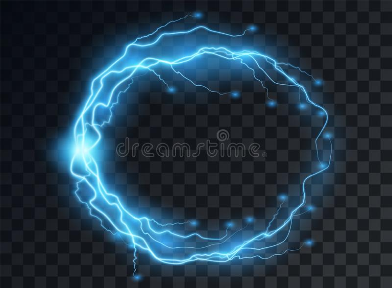Electric blue discharge, lightning flashes in the shape of a round frame with the effect of soft transparent glow. Isolated. Electric blue discharge, lightning stock illustration