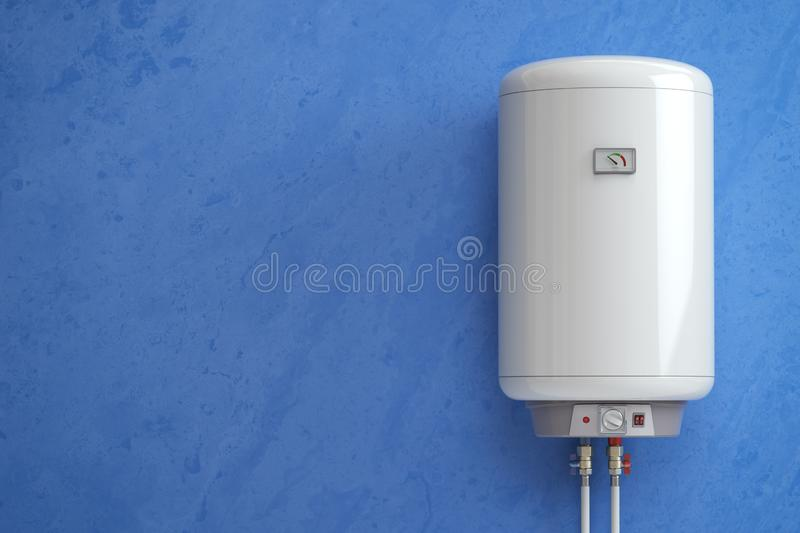 Electric boiler, water heater on the blue wall. 3d illustration stock illustration