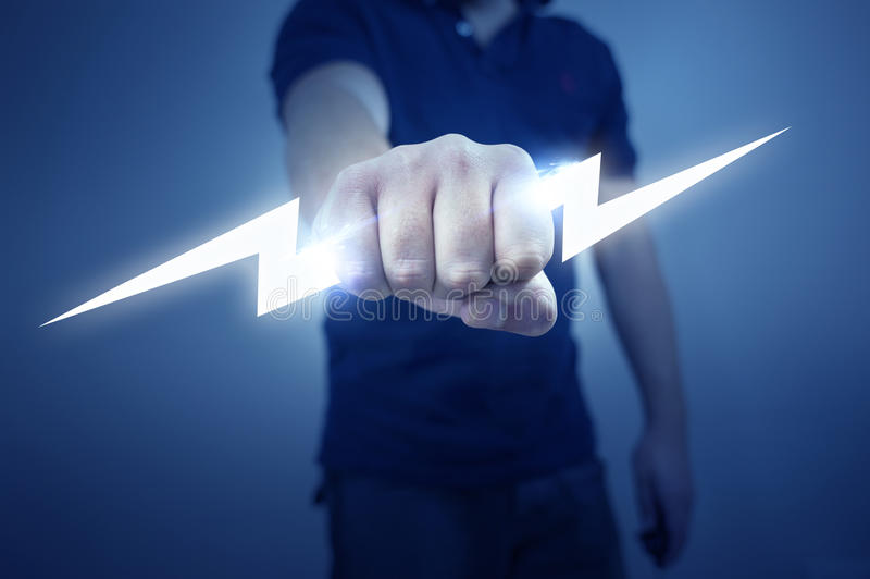 Electric Bolt. A man holding a stylized electric bolt