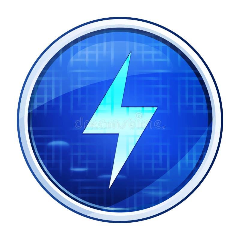 Electric bolt icon futuristic blue round button vector illustration stock illustration