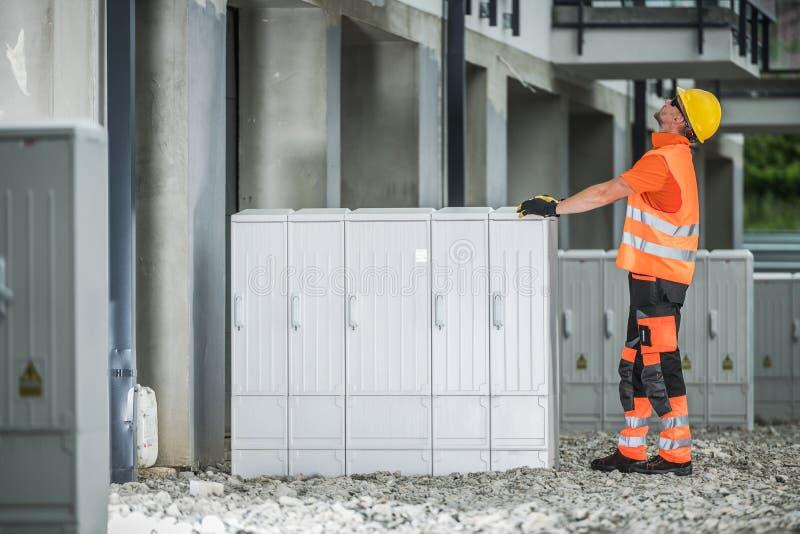 Electric Boxes Installation stock photos