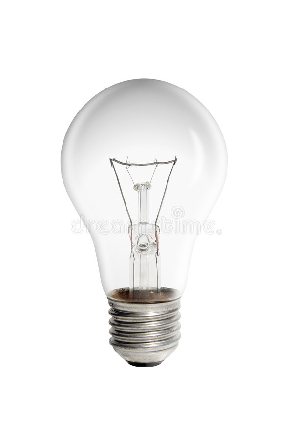 Electric Bulb. On white background (illuminate on head stock photography