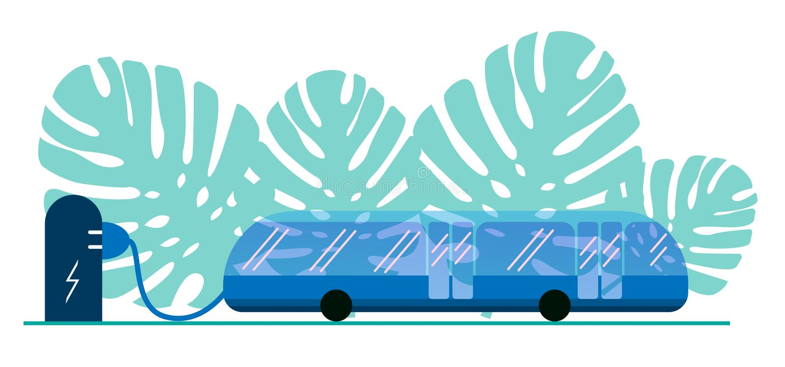Electric bus in the city on recharging the battery at the bus stop. Eco-friendly bus powered by electricity. Public transport is vector illustration
