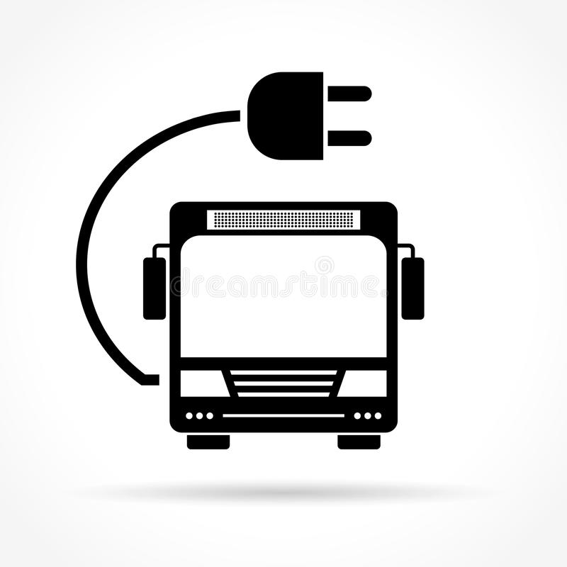 Electric bus icon. Illustration of electric bus icon on white background stock illustration
