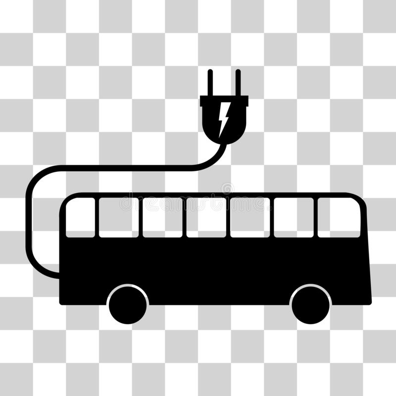 Electric bus sign. On checkered backdrop. Vector illustration stock illustration