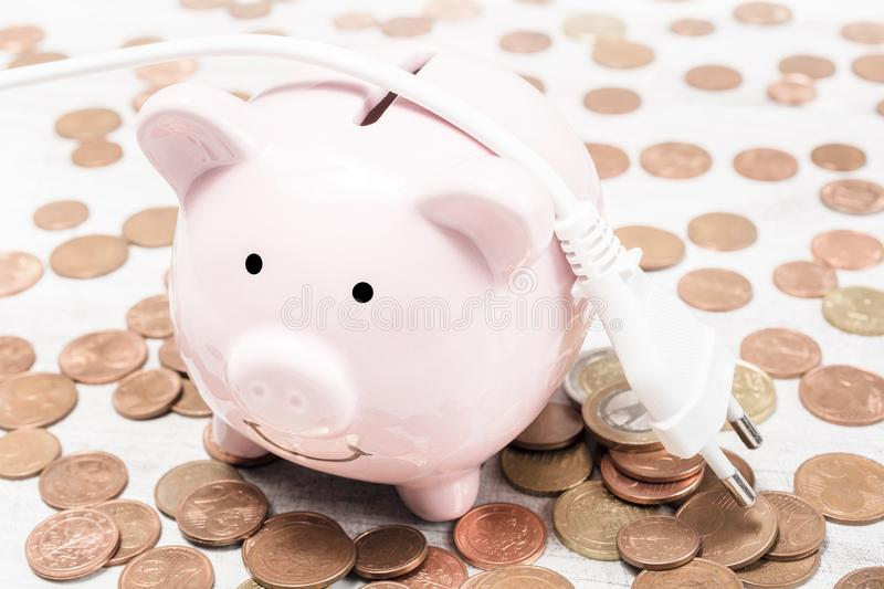 Electric Cable Lying On A Piggybank Surrounded By Coins - Saving Money By Reducing Power Consumption Concept. An Electric Cable Lying On A Piggybank Surrounded stock images
