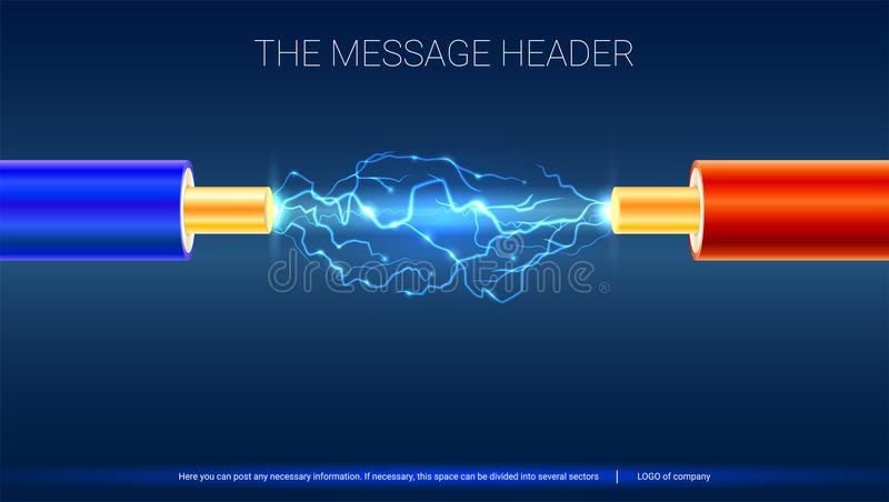 Electric cable with sparks. Horizontal design for presentation, posters, cover art, banners or advertising. Copper vector illustration