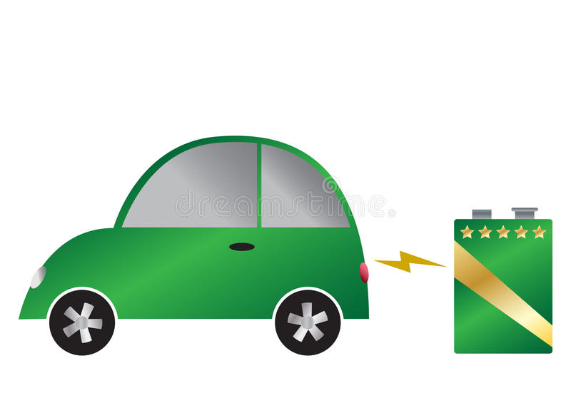 Electric Car And Battery. An electric car and 9v battery isolated on a white background stock illustration