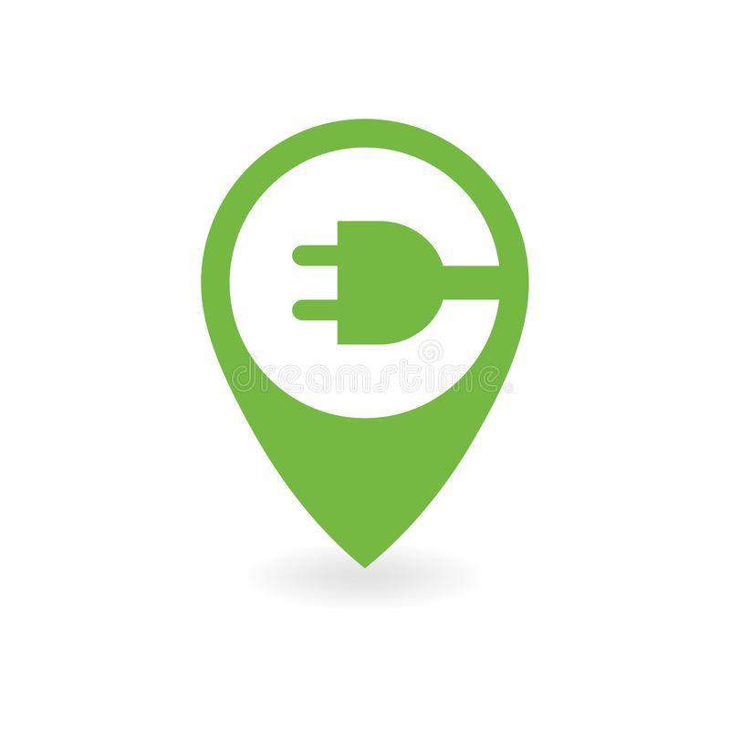 Electric car charge station map pin. stock illustration