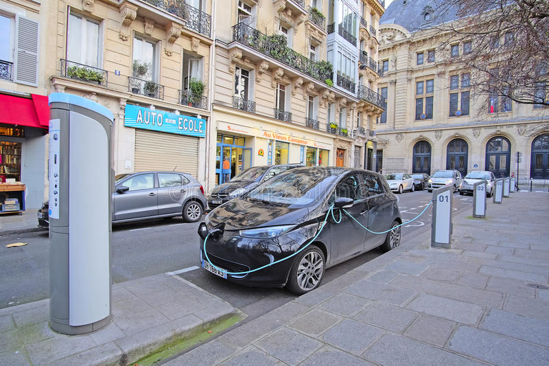 Electric car charges in Paris. Paris, France, February 9, 2016: image of electric car charges in Paris, France royalty free stock photo