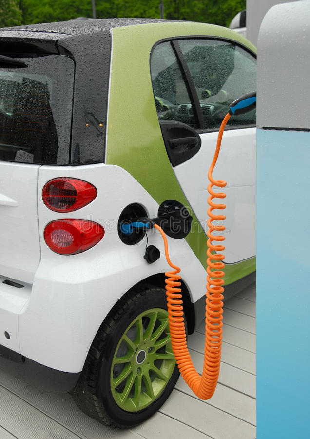 Electric car charging stock photography
