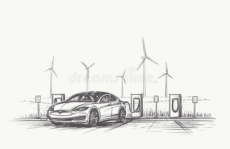 Electric Car charging hand drawn illustration. Vector, eps10. royalty free illustration