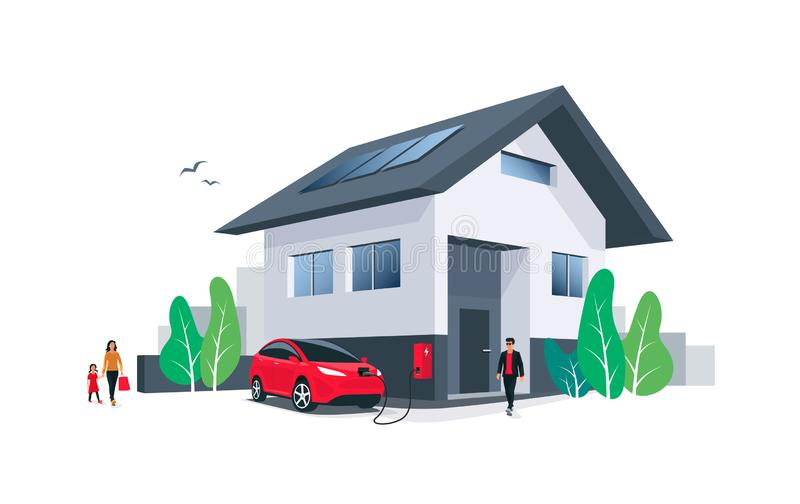 Electric Car Charging at Home House Wall Box with Solar Panels and Family royalty free illustration