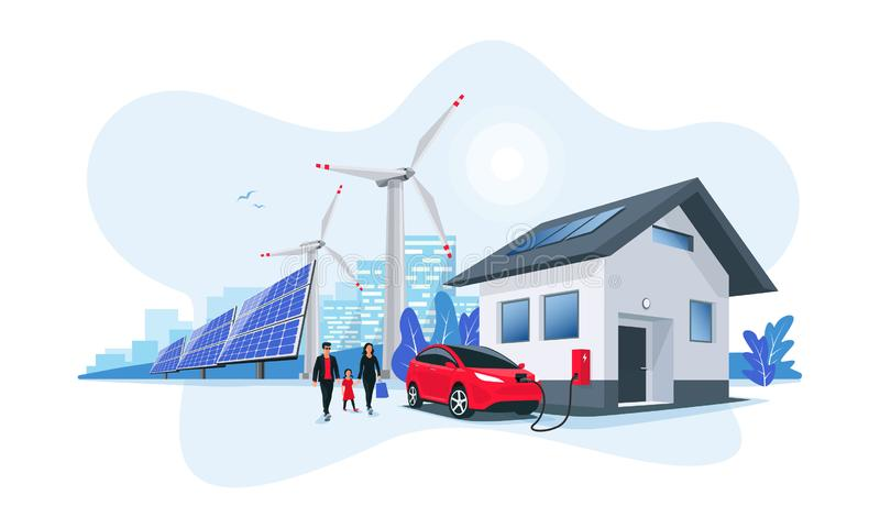 Electric Car Charging at Home with Solar Panels and Wind Power Station and Green City Skyline. Family battery electric car charging at home charger station stock illustration