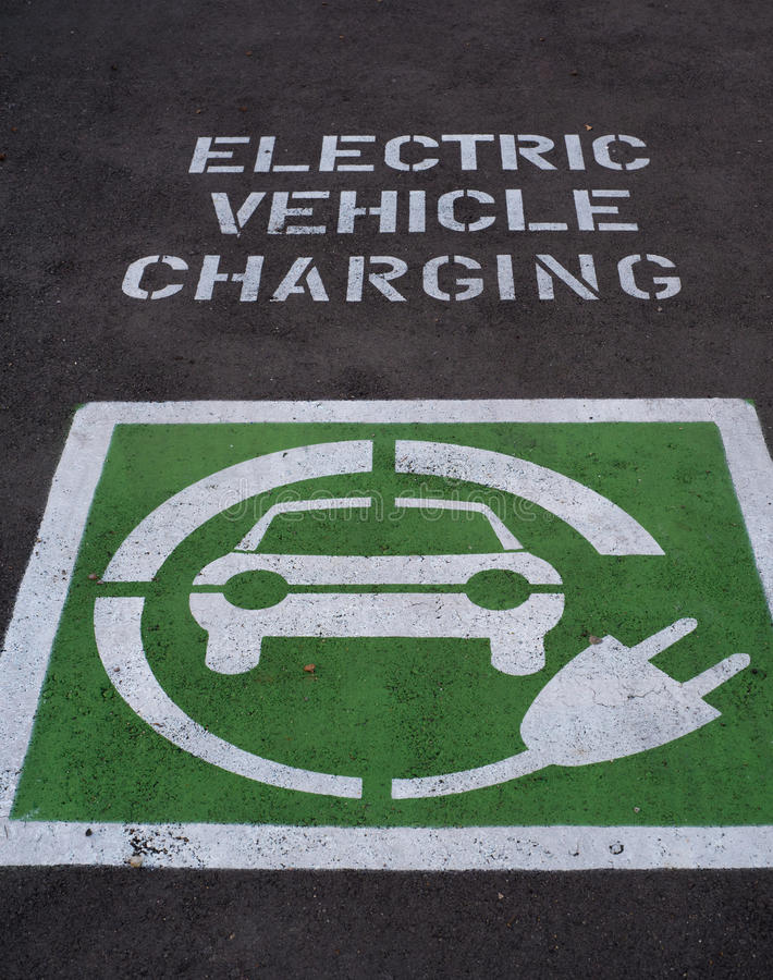 Electric Car Charging parking place royalty free stock images