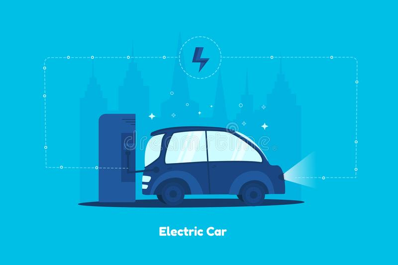 Electric car on charging Station with city on background. Clean energy concept. Flat vector illustration stock illustration