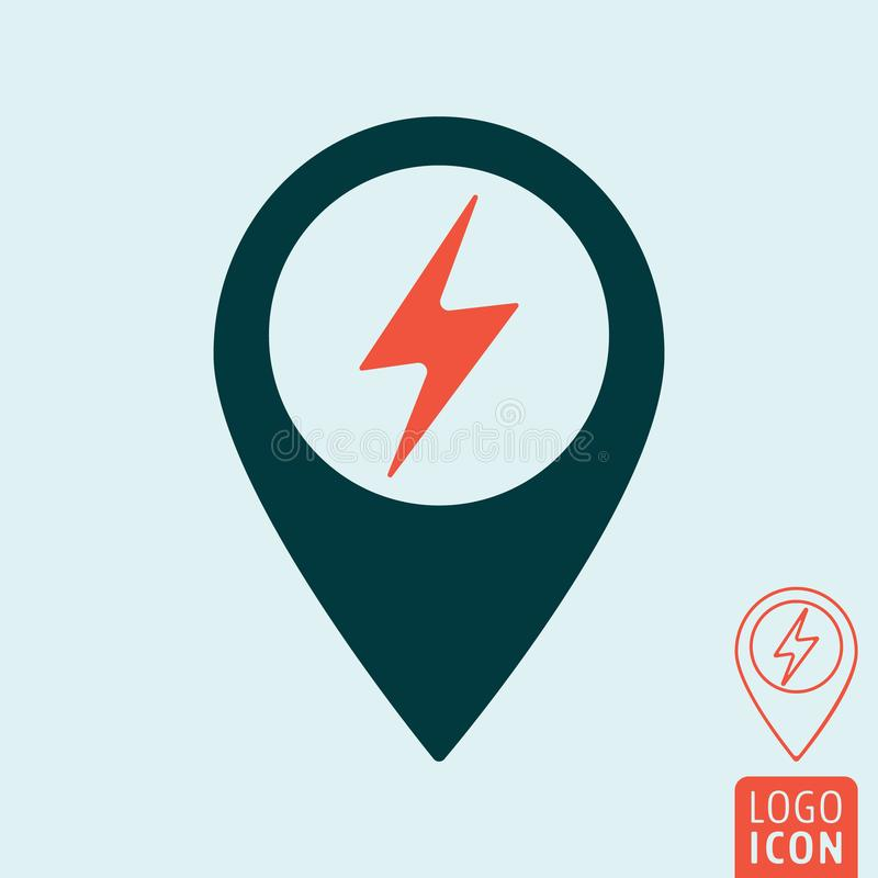 Electric car charging station map pin icon stock illustration