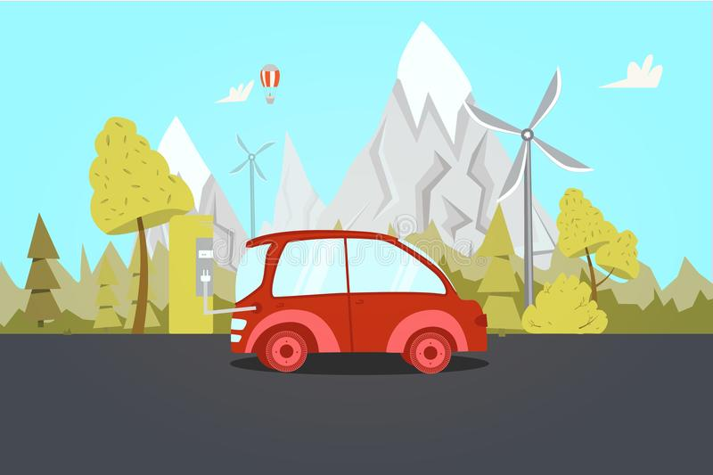 Electric car on charging Station with nature on background. Clean energy concept. Flat vector illustration stock illustration