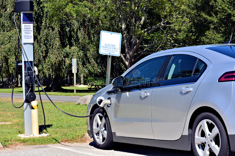 Electric car charging station royalty free stock photo