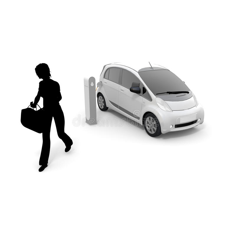 Electric car / children / pickup. To charge an electric car at a charging station. Use to move means of transportation. To make the everyday life. To use the royalty free illustration