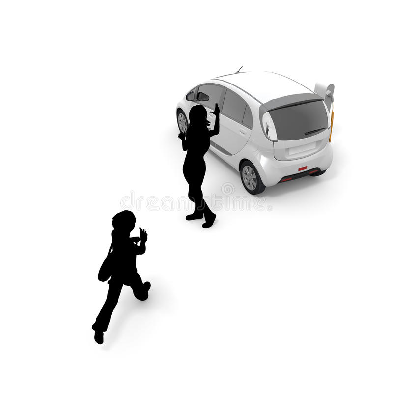 Electric car / children / pickup. To charge an electric car at a charging station. Use to move means of transportation. To make the everyday life. To use the vector illustration
