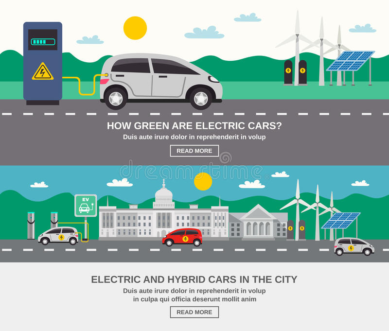Electric Car City 2 Flat Banners vector illustration