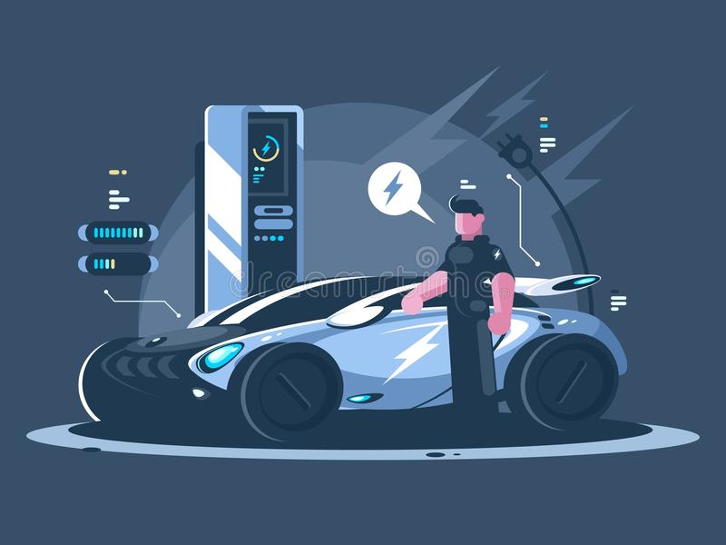 Electric car and driver near auto. New transport eco technologies. Vector illustration vector illustration