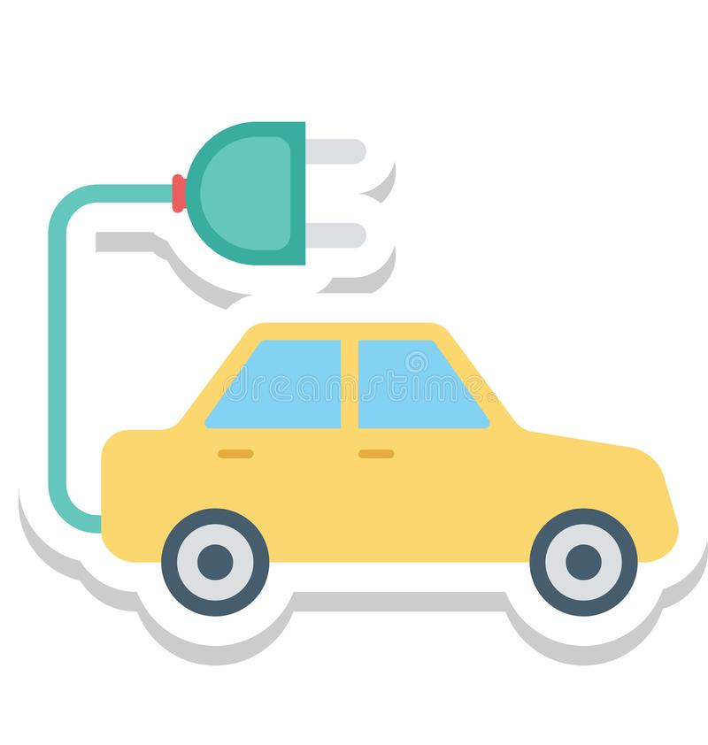 Electric Car, Electric Vehicle Color Isolated Vector Icon royalty free illustration