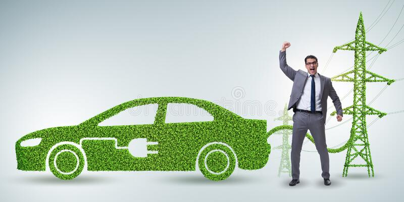 Electric car and green energy concept royalty free stock photos