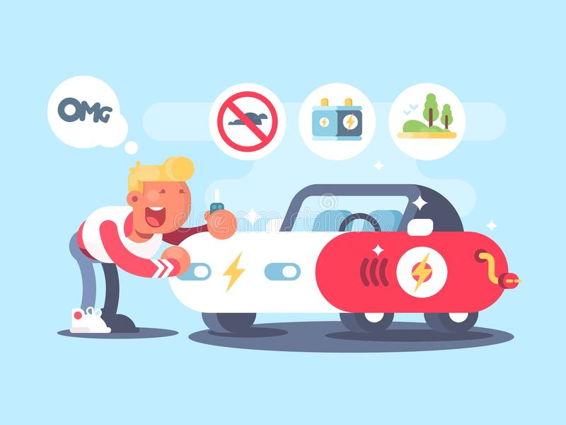 Electric car and happy owner. Advantage of electric vehicle. Vector illustration stock illustration