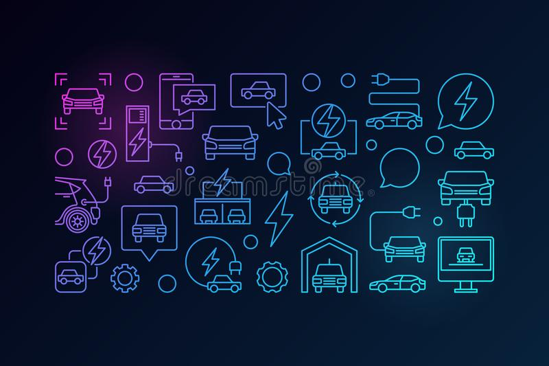 Electric car horizontal colorful banner vector illustration