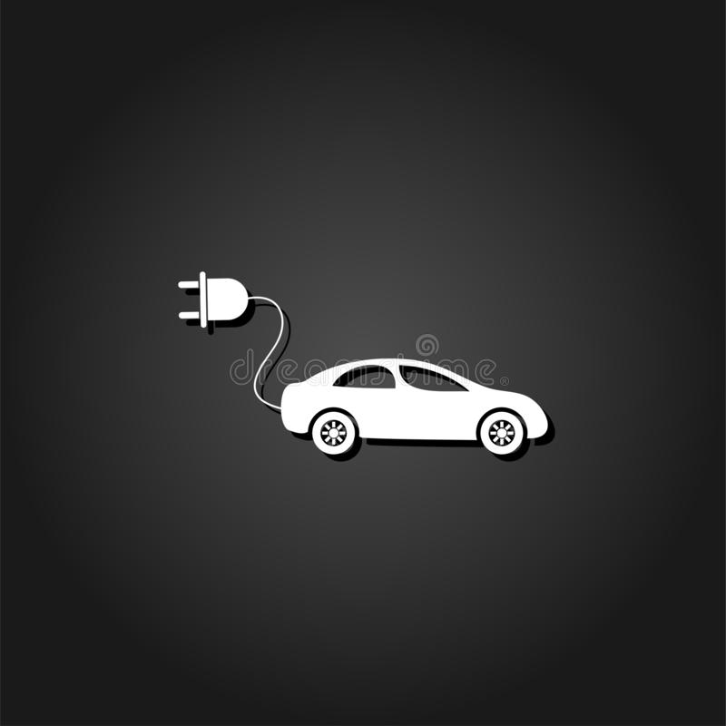 Electric car icon flat. Simple White pictogram on black background with shadow. Vector illustration symbol stock illustration