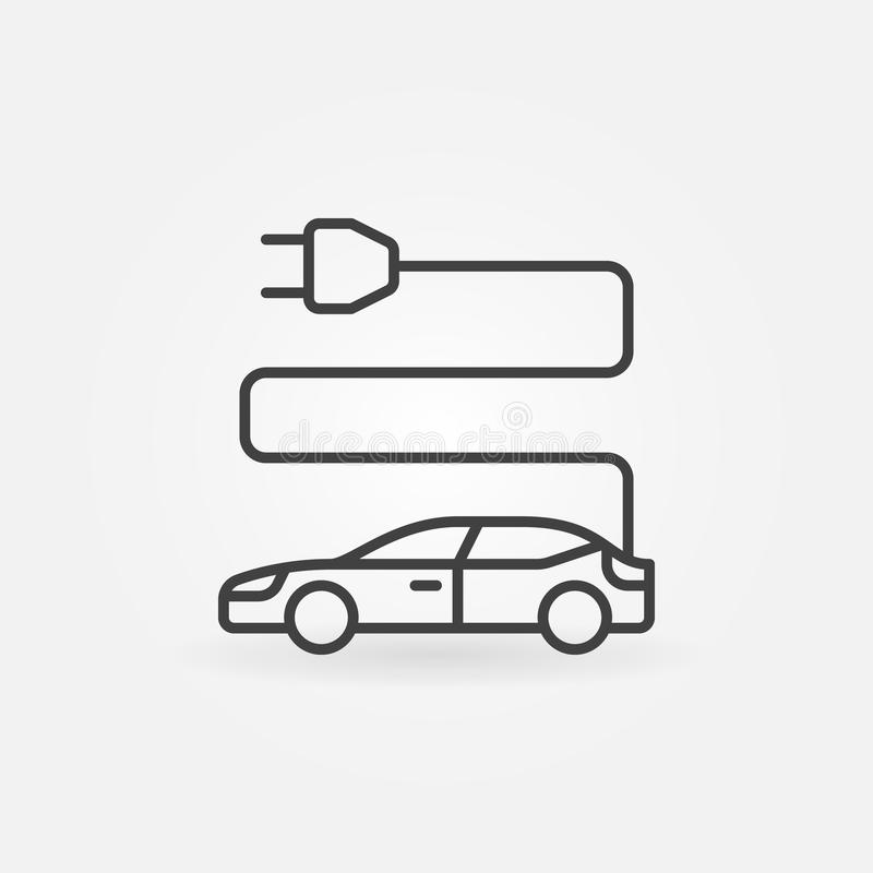 Electric car icon in thin line style stock illustration