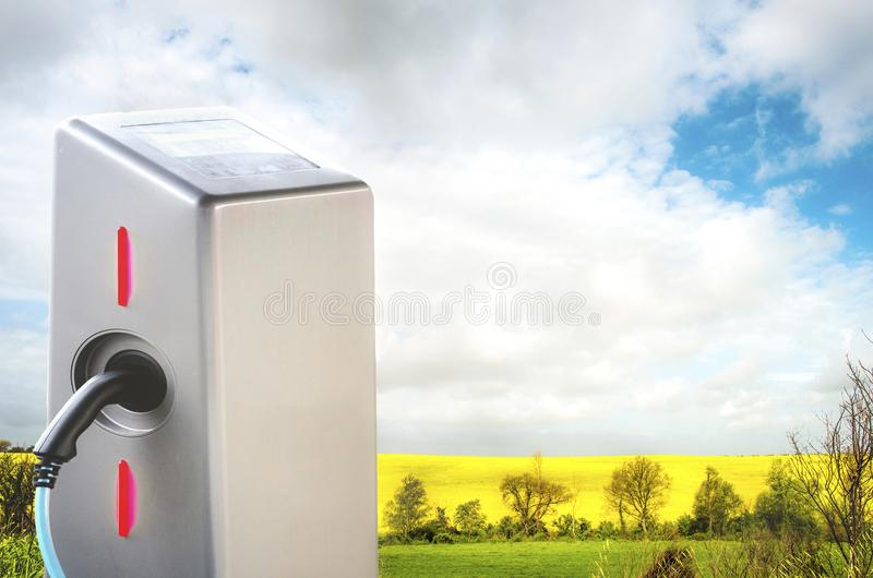 Electric car landscape charging station nature background stock photo