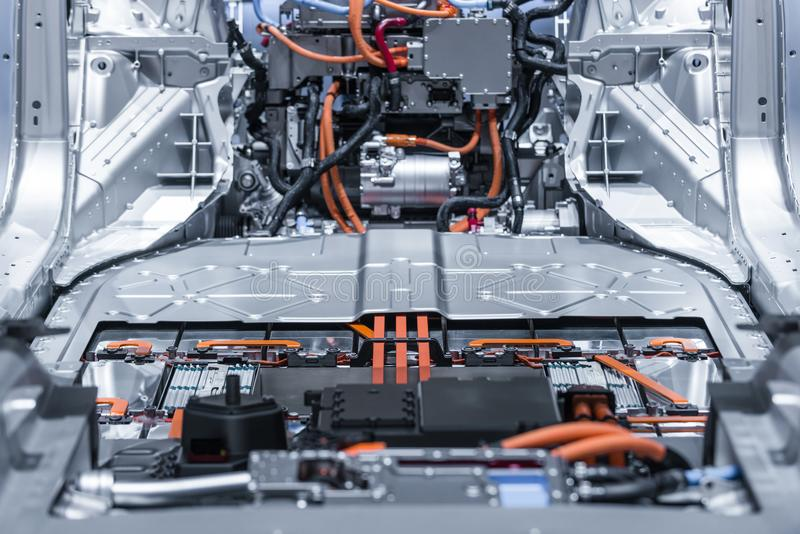 Electric car lithium battery pack and power connections. Blue toned. stock image