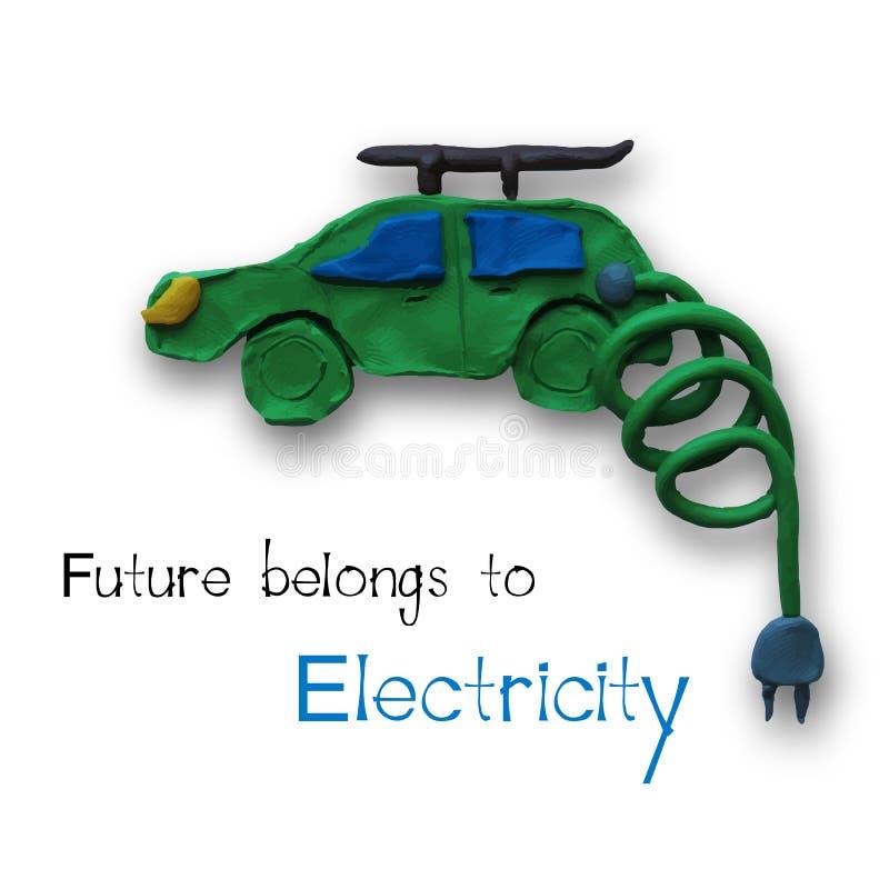 Electric car. Logo in green color. Vector illustration. Plasticine modeling vector illustration