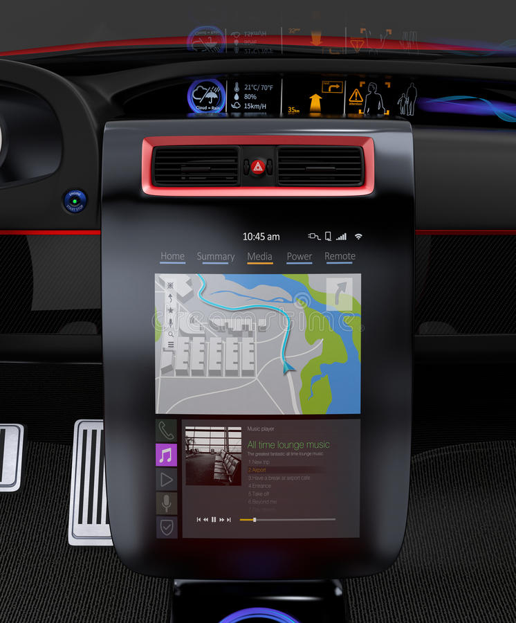 Electric car multimedia interface design concept. royalty free illustration