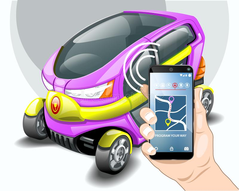 Electric car phone navigation system. EPS 10 Vector graphics. Layered and editable royalty free illustration