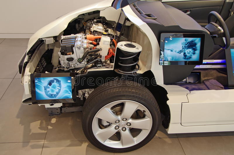 Section of electric car. Presented in a showroom in Paris, June 2010 royalty free stock photos