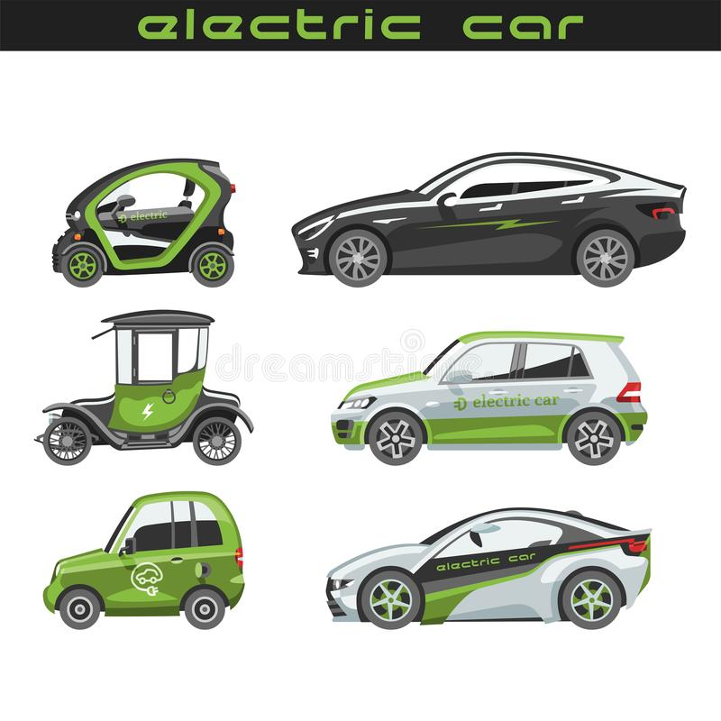 Electric Vector Car With Solar Panels Eco Electro