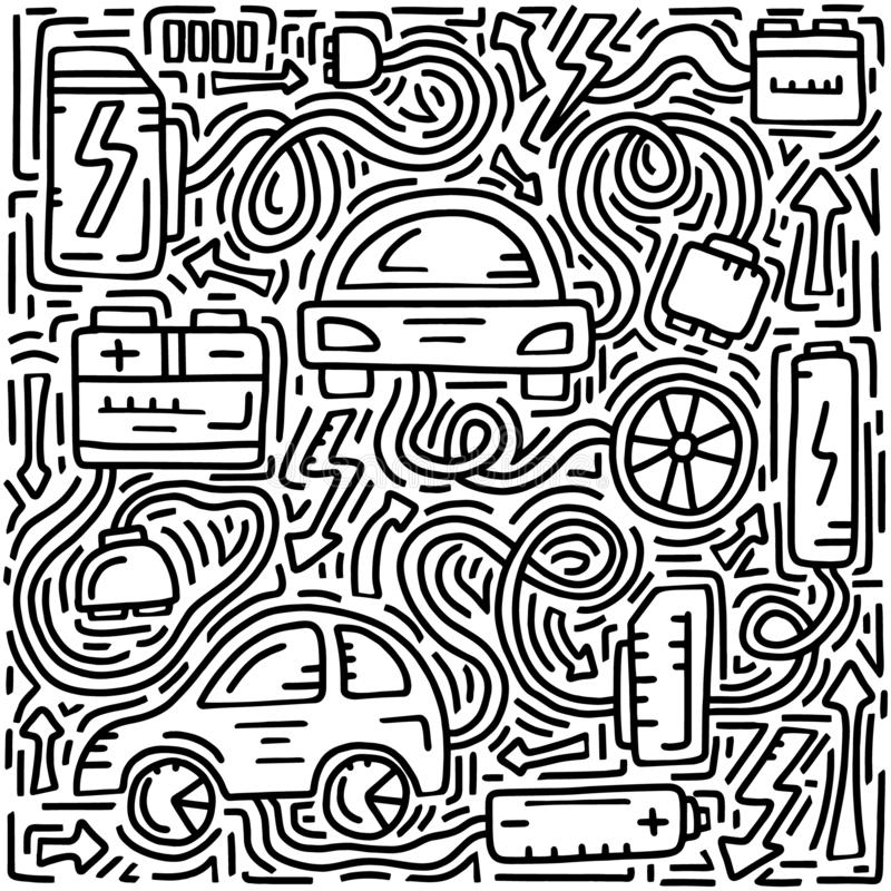 Electric car theme. Doodle illustration for poster, card and board. Hand drawn icons on white background. Vector design. Hand drawing cute style royalty free illustration