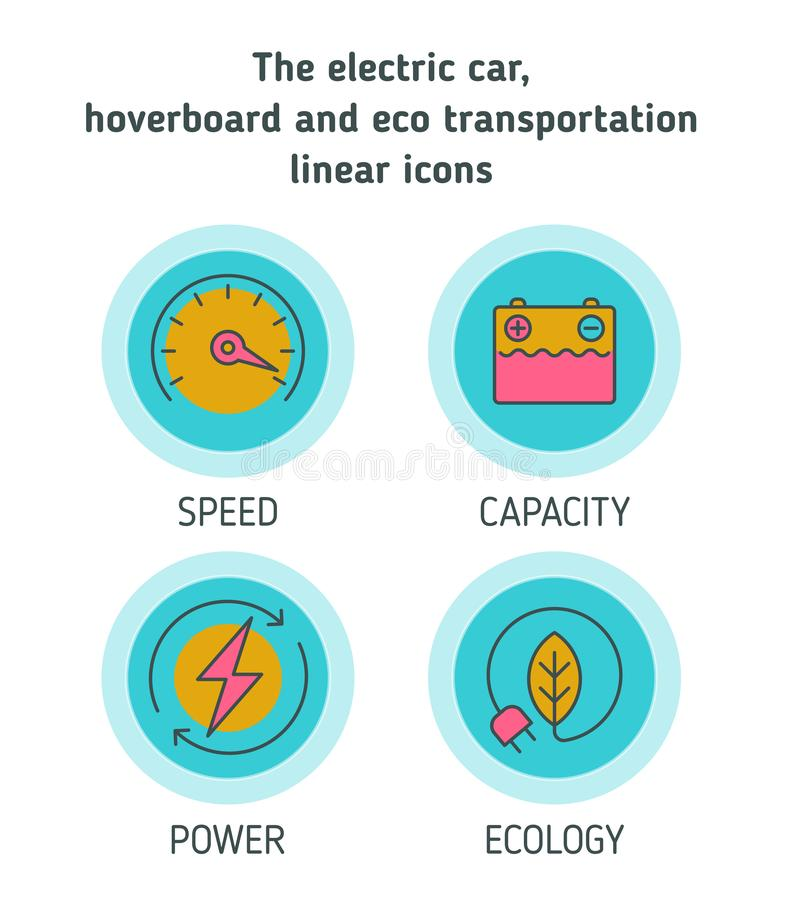 Electric cars, hoverboard, eco transportation concept icon set royalty free illustration