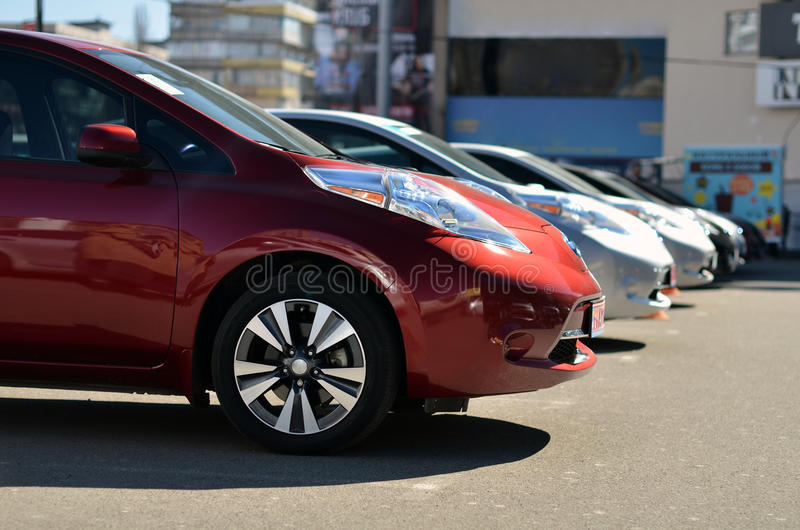 Electric cars on parking stock photography