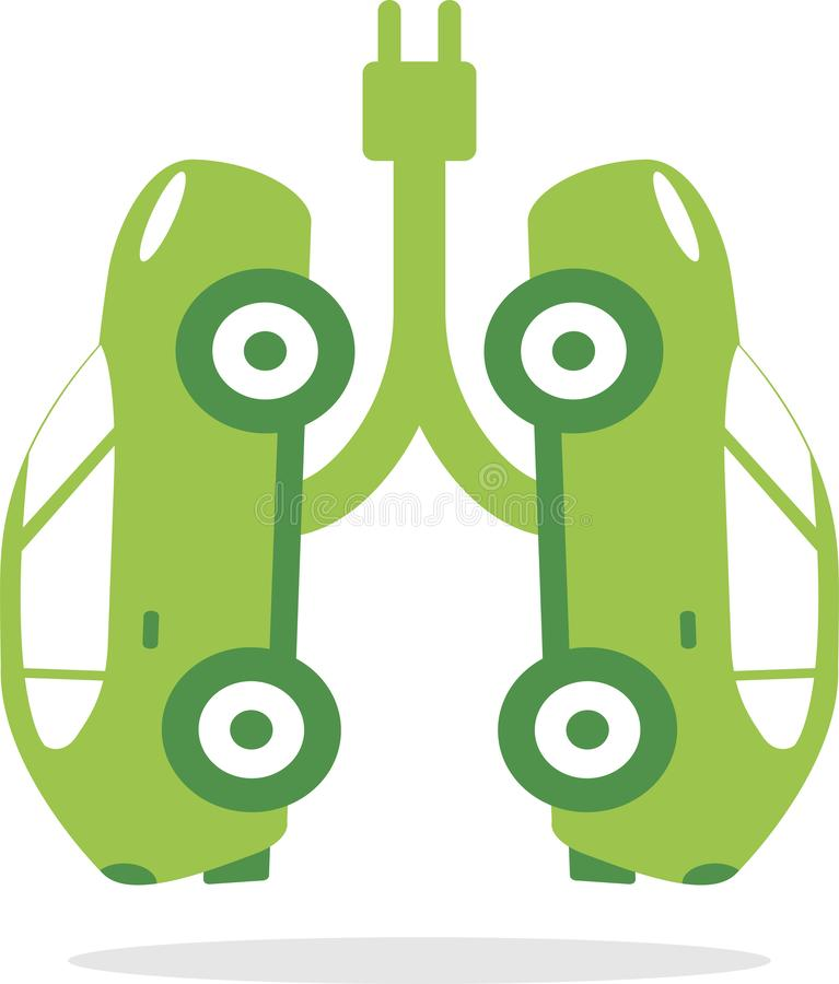 Electric cars that simulate healthy green lungs royalty free illustration